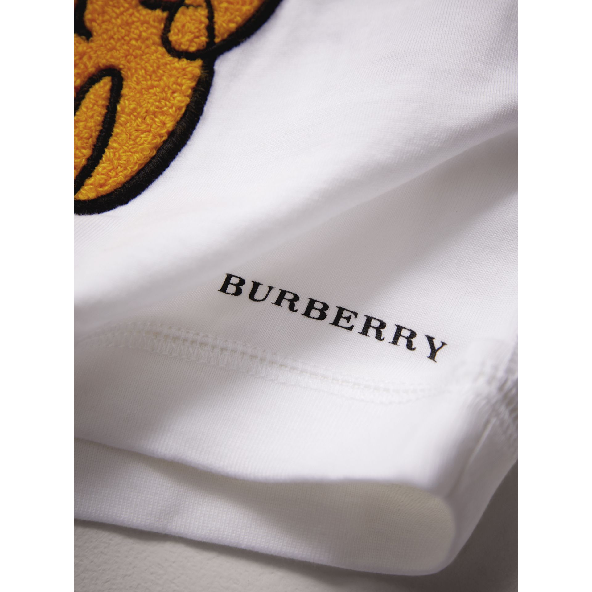 London Icons Embroidered Cotton Jersey Top in White | Burberry - gallery image 2