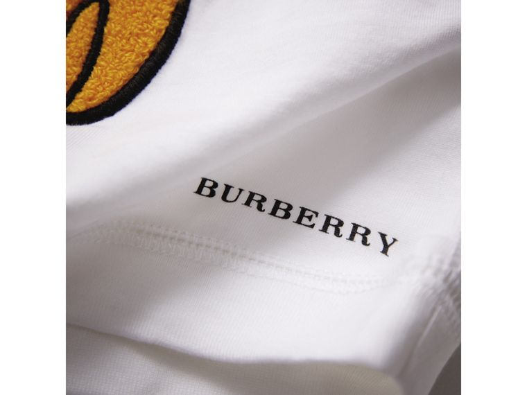 London Icons Embroidered Cotton Jersey Top in White | Burberry - cell image 1