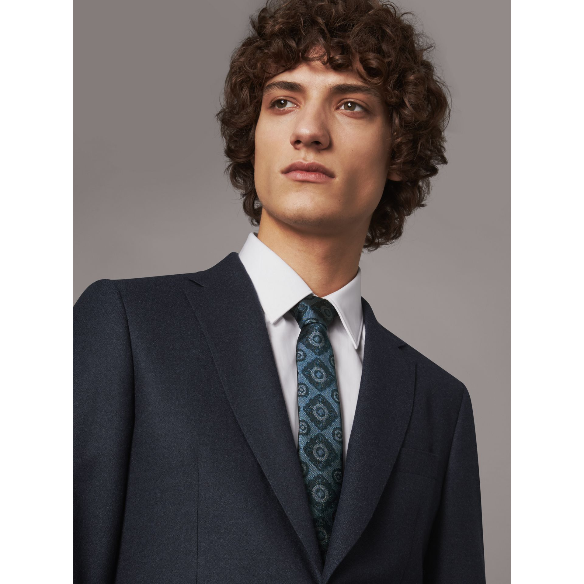 Slim Cut Tiled Floral Silk Jacquard Tie in Canvas Blue - Men | Burberry - gallery image 3
