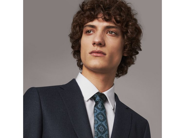 Slim Cut Tiled Floral Silk Jacquard Tie in Canvas Blue - Men | Burberry - cell image 2