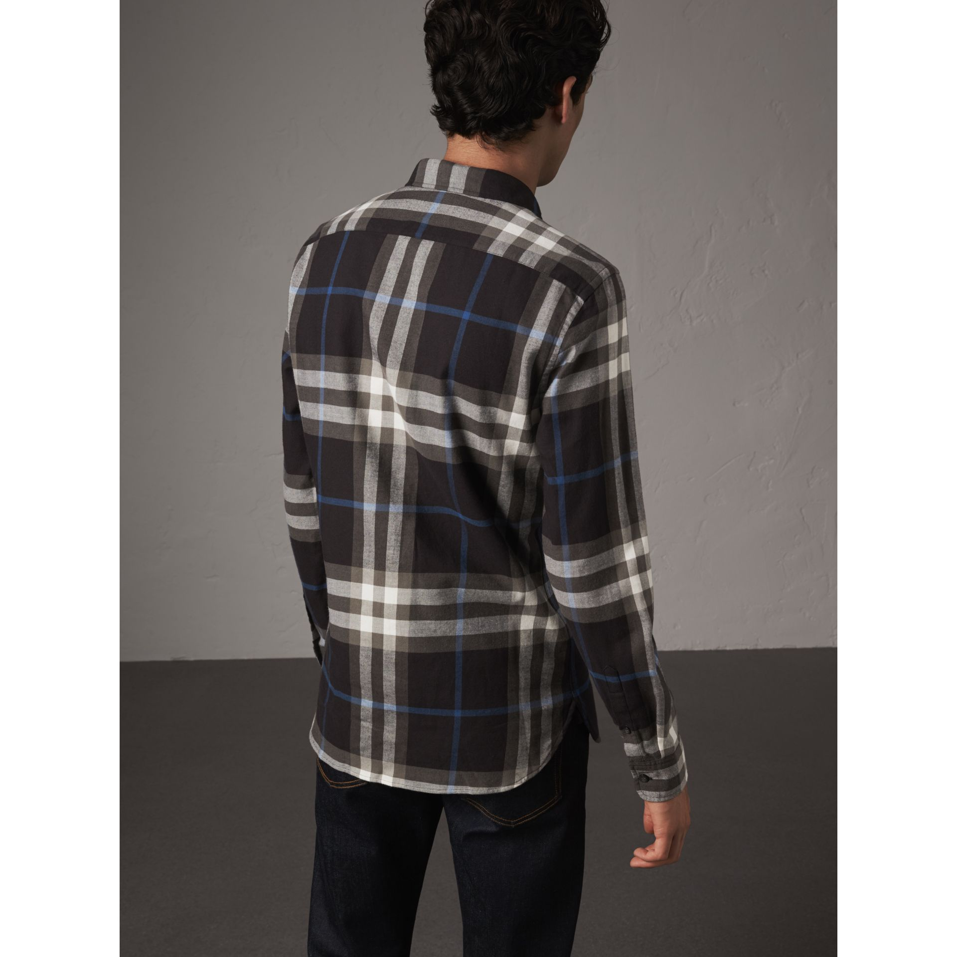 Check Cotton Flannel Shirt in Black - Men | Burberry United Kingdom - gallery image 2
