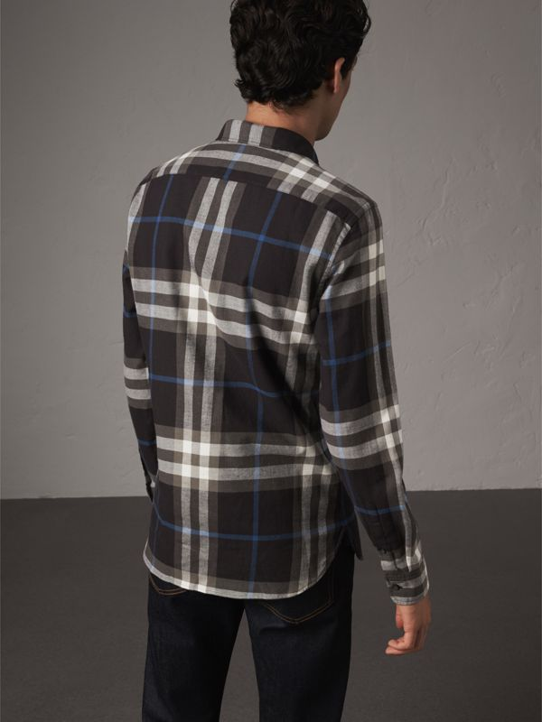Check Cotton Flannel Shirt in Black - Men | Burberry - cell image 2