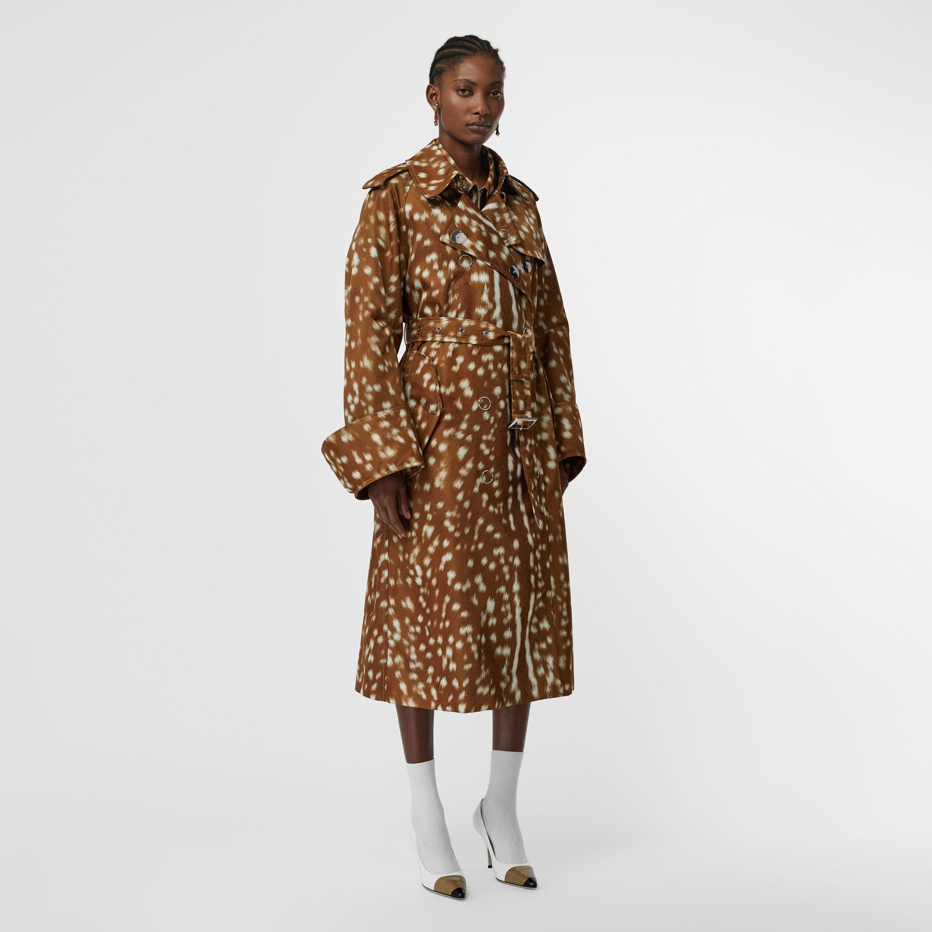 Exaggerated Cuff Deer Print Nylon Trench Coat in Honey - Women | Burberry - gallery image 5