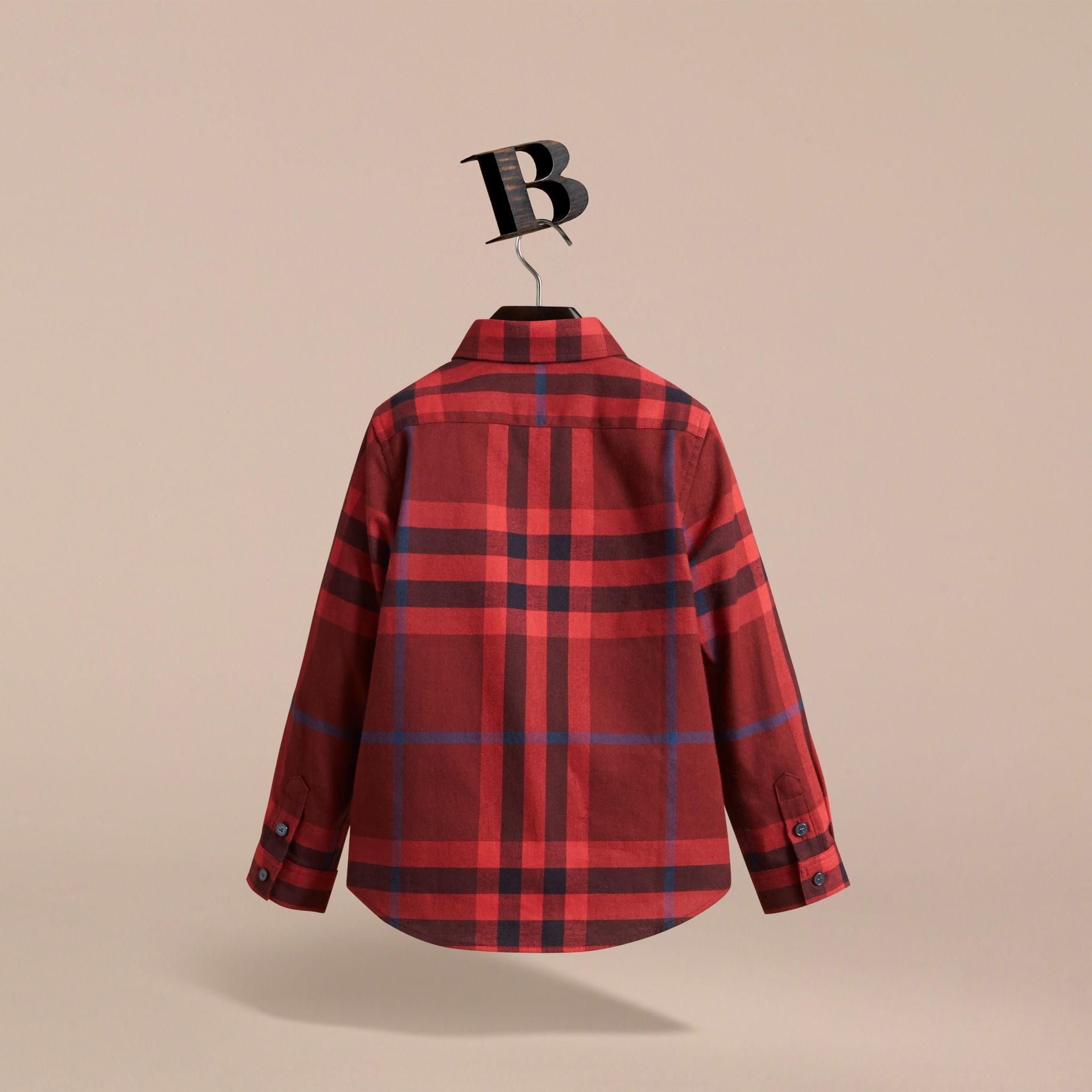 Check Cotton Flannel Button-Down Shirt in Mahogany Red - Boy | Burberry - gallery image 4