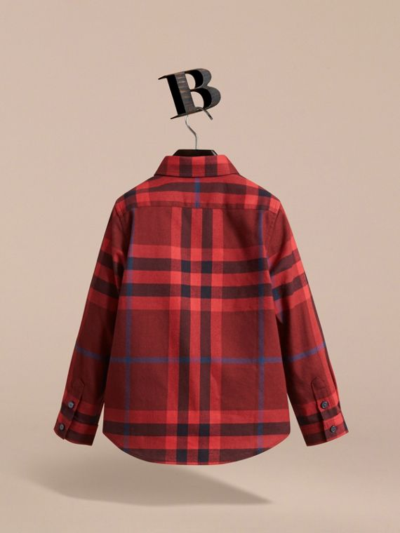 Check Cotton Flannel Button-Down Shirt in Mahogany Red - Boy | Burberry - cell image 3