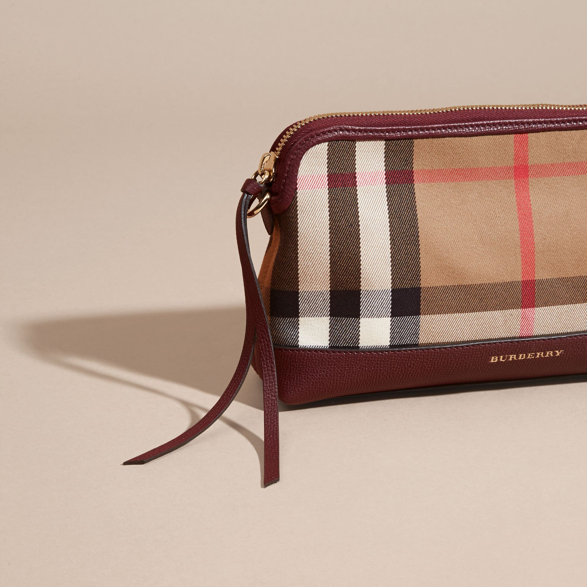 Mahogany red House Check and Leather Clutch Bag Mahogany Red - gallery image 7