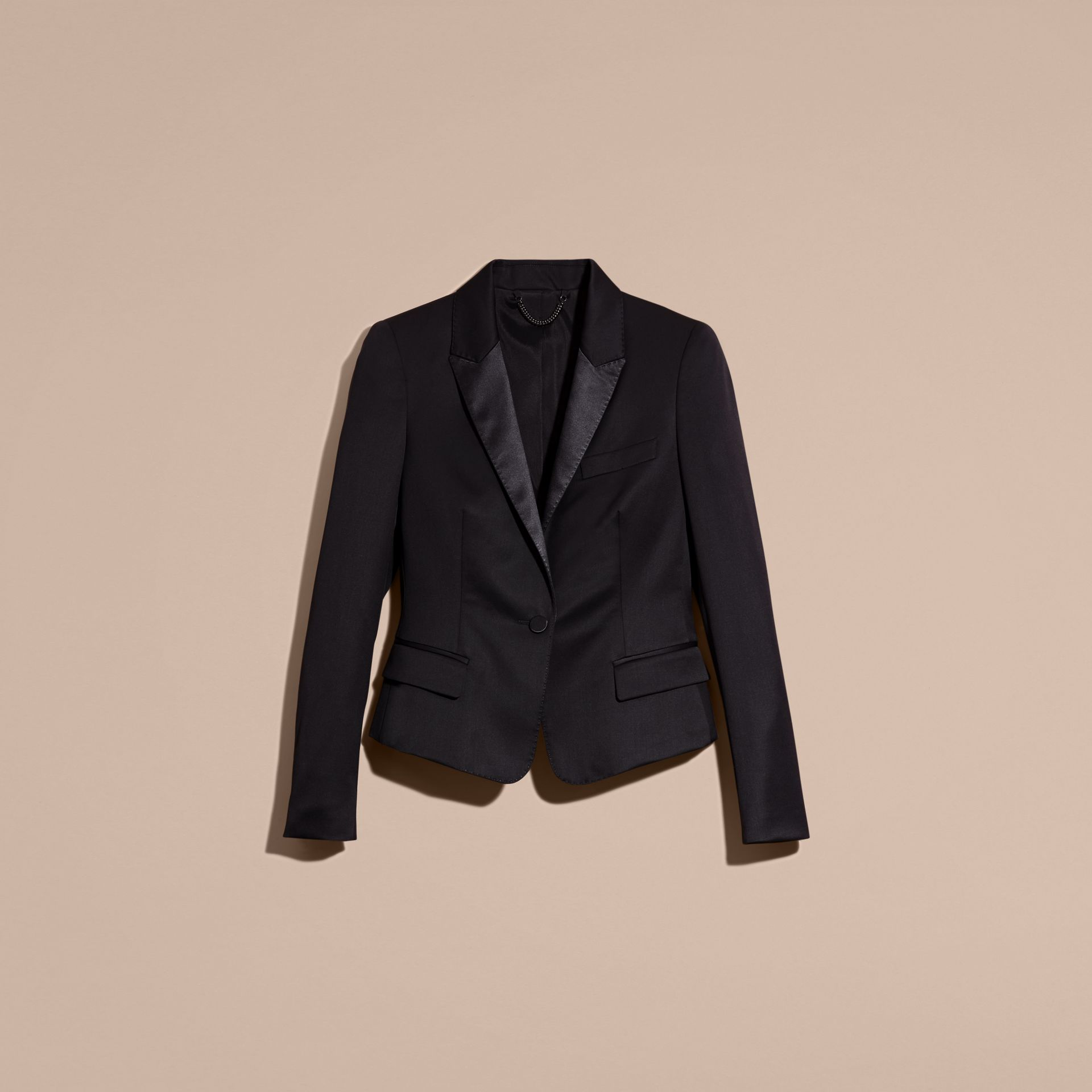 Back Peplum Wool Blend Tuxedo Jacket - Women | Burberry - gallery image 4
