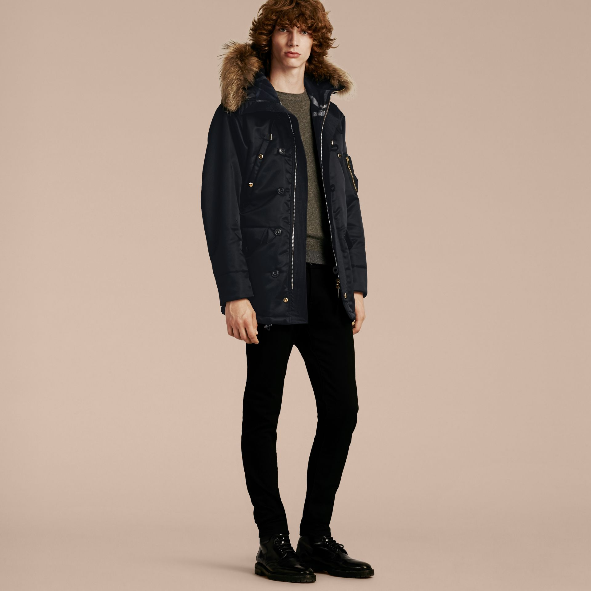 Navy Hooded Parka with Detachable Raccoon Trim - gallery image 7