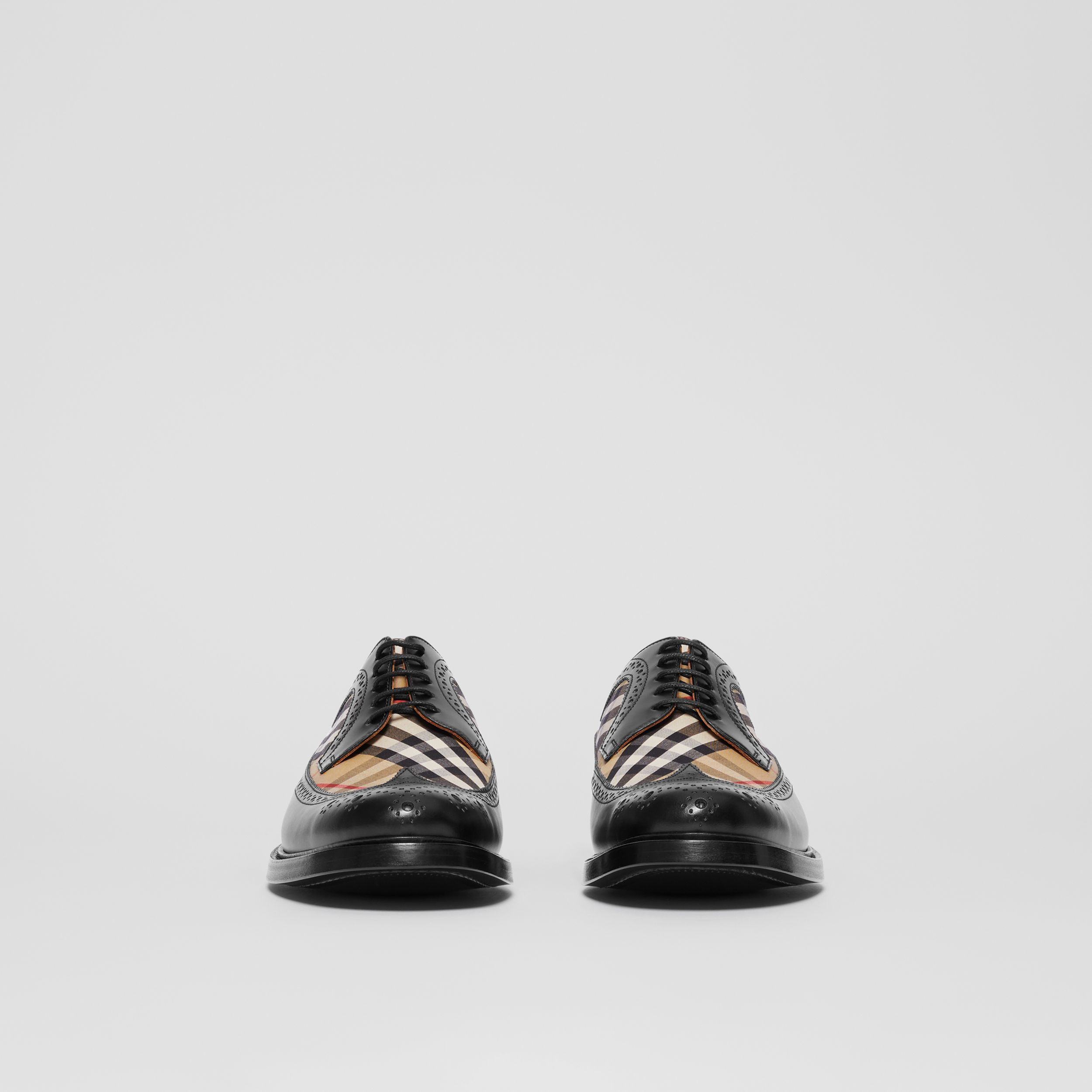 Brogue Detail Leather and Vintage Check Derby Shoes in Black/archive Beige - Men | Burberry - 4