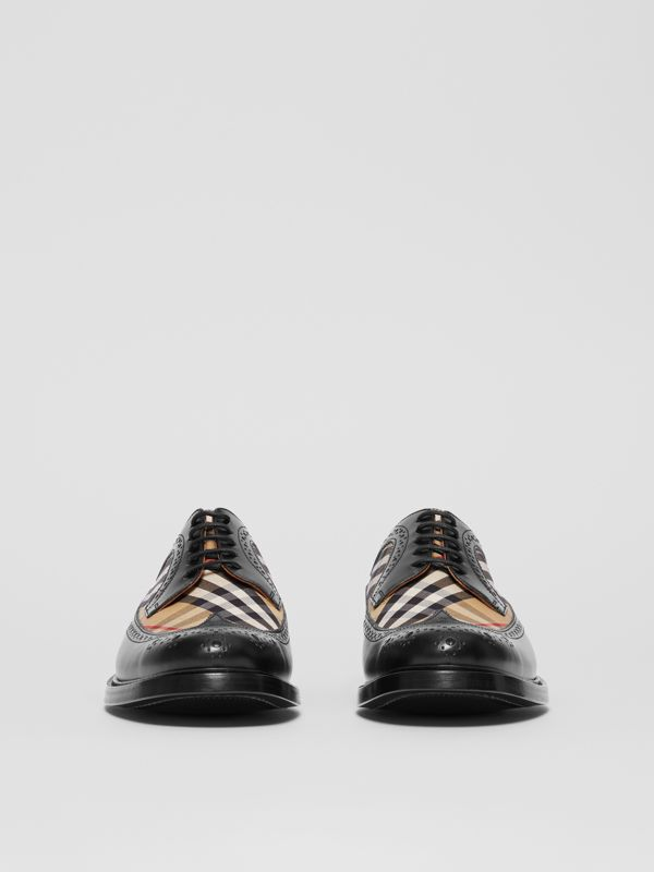 Brogue Detail Leather and Vintage Check Derby Shoes in Black/archive Beige - Men | Burberry - cell image 3