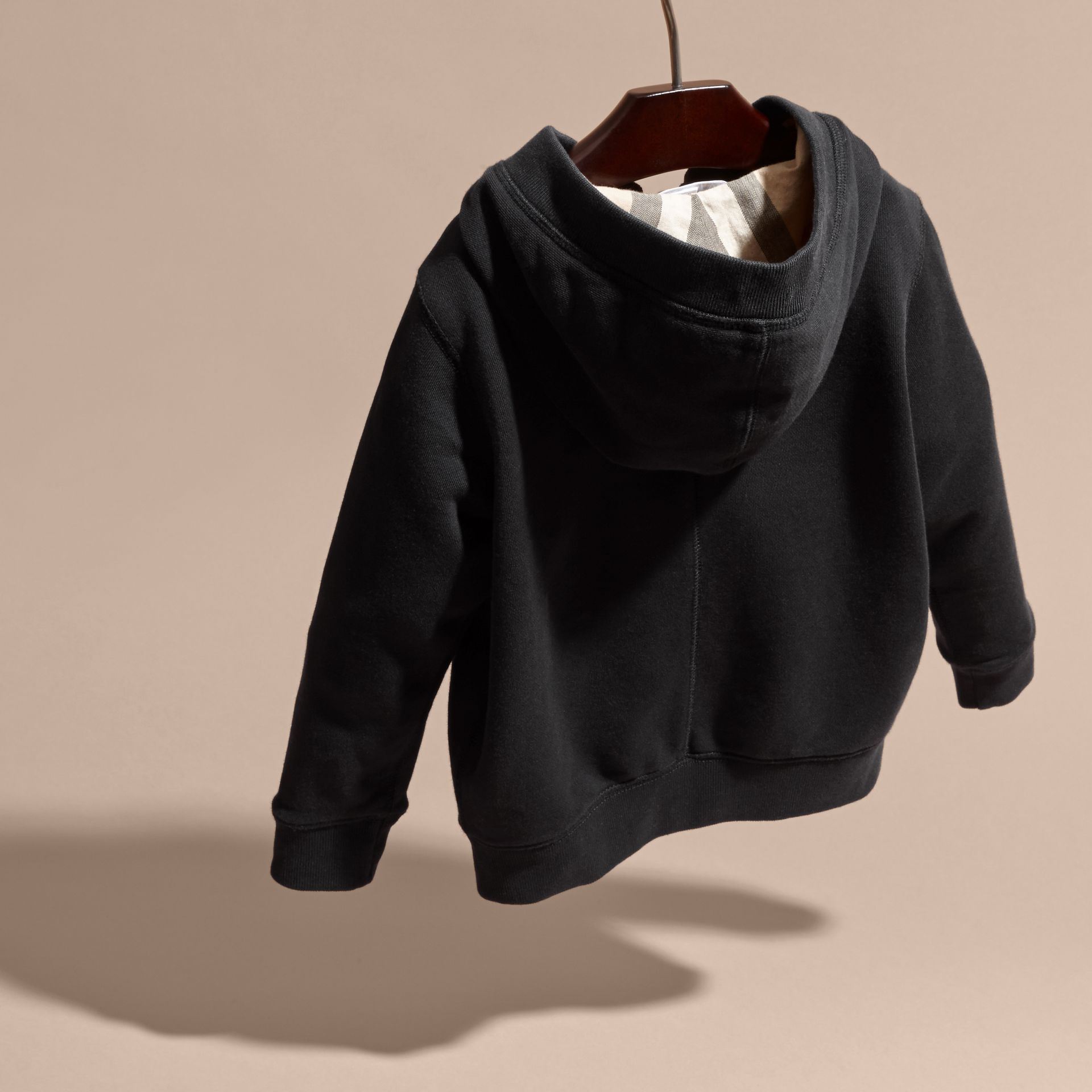 Hooded Cotton Top in Black - Boy | Burberry - gallery image 4