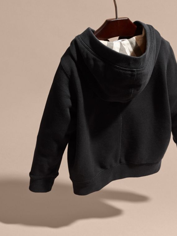 Hooded Cotton Top in Black - Boy | Burberry - cell image 3