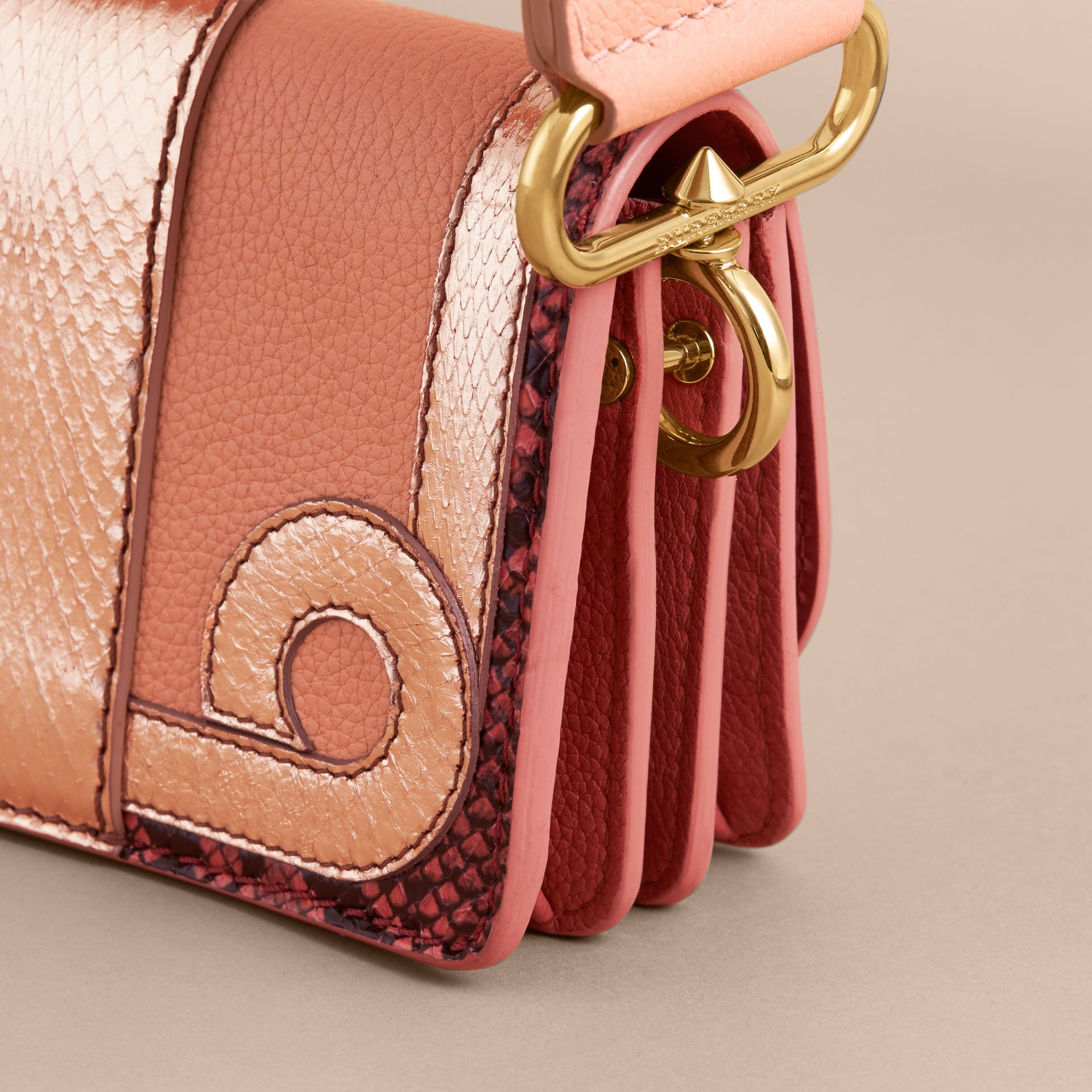The Patchwork in Grainy Leather and Snakeskin in Pink - Women | Burberry - gallery image 5