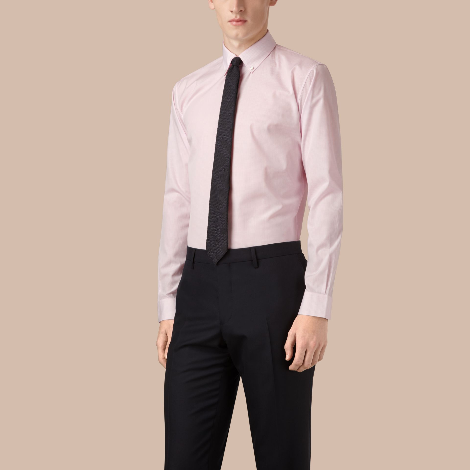 City pink Modern Fit Button-down Collar Micro Check Cotton Shirt - gallery image 1
