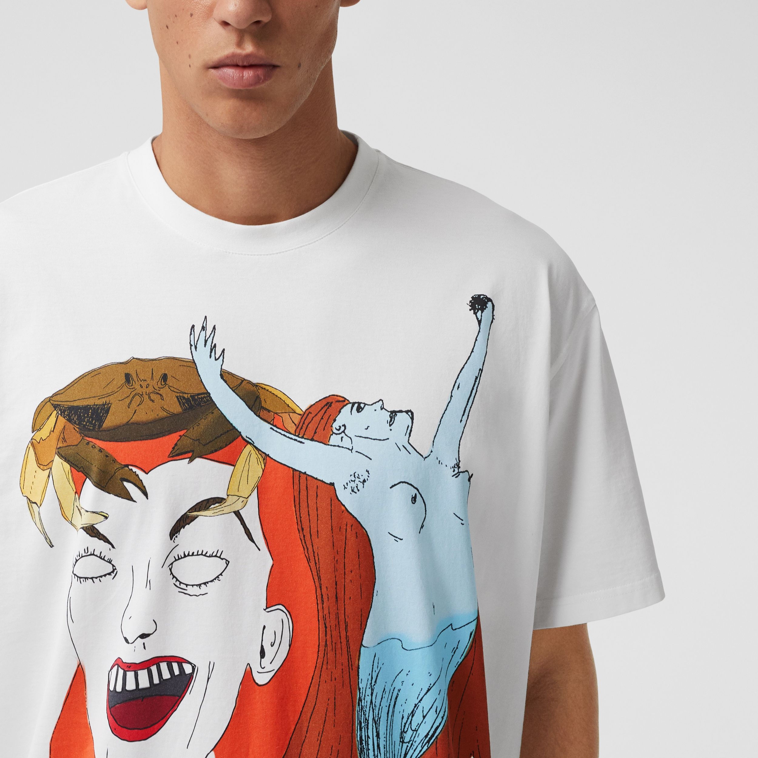 Sea Maiden Print Cotton Jersey T-shirt in White - Men | Burberry United Kingdom - 2