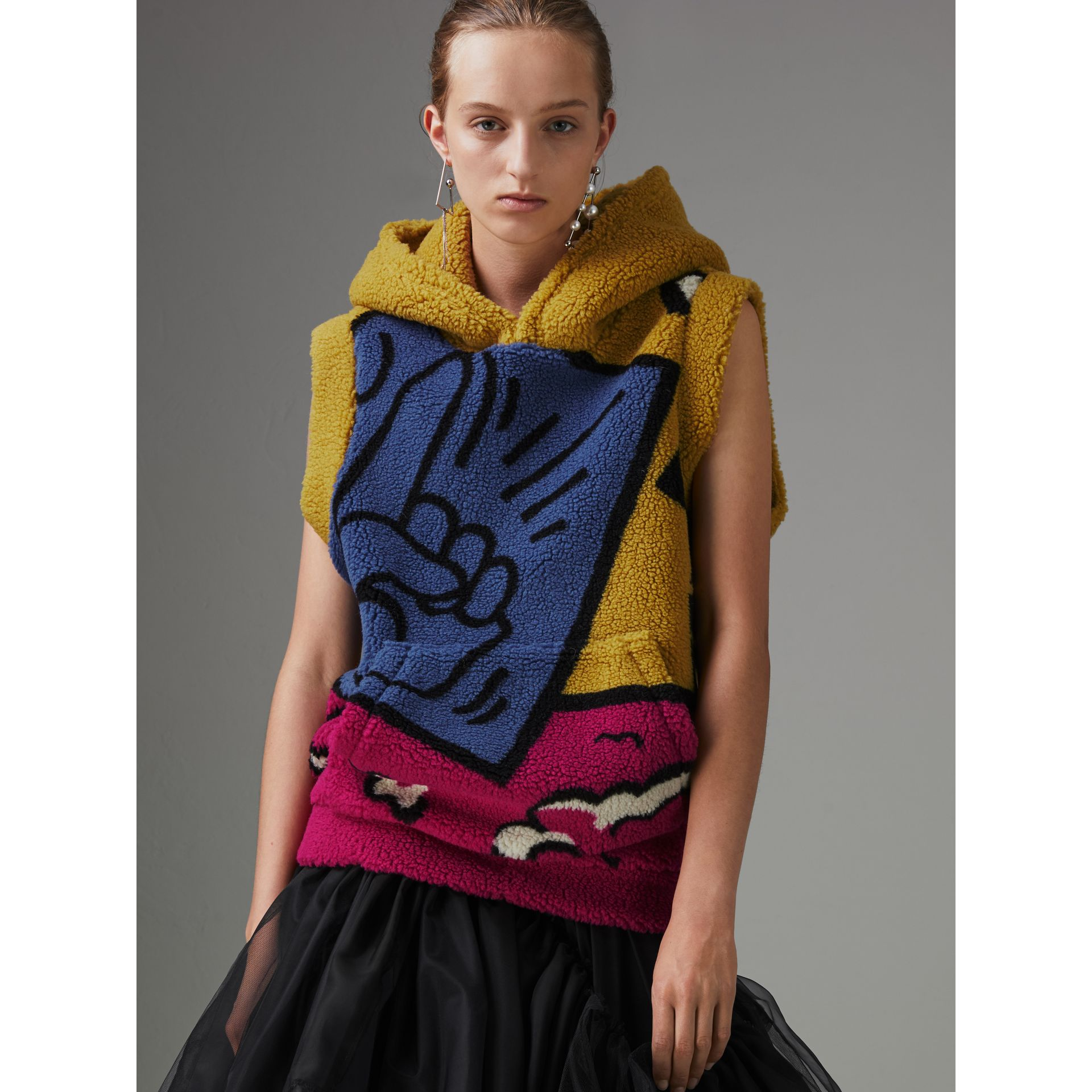 Poster Graphic Fleece Jacquard Sleeveless Hoodie in Bright Pink - Women | Burberry - gallery image 4
