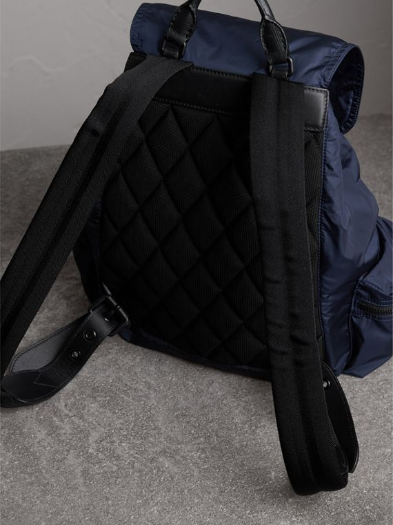 The Large Rucksack in Technical Nylon and Leather in Ink Blue - Men | Burberry United States - cell image 2