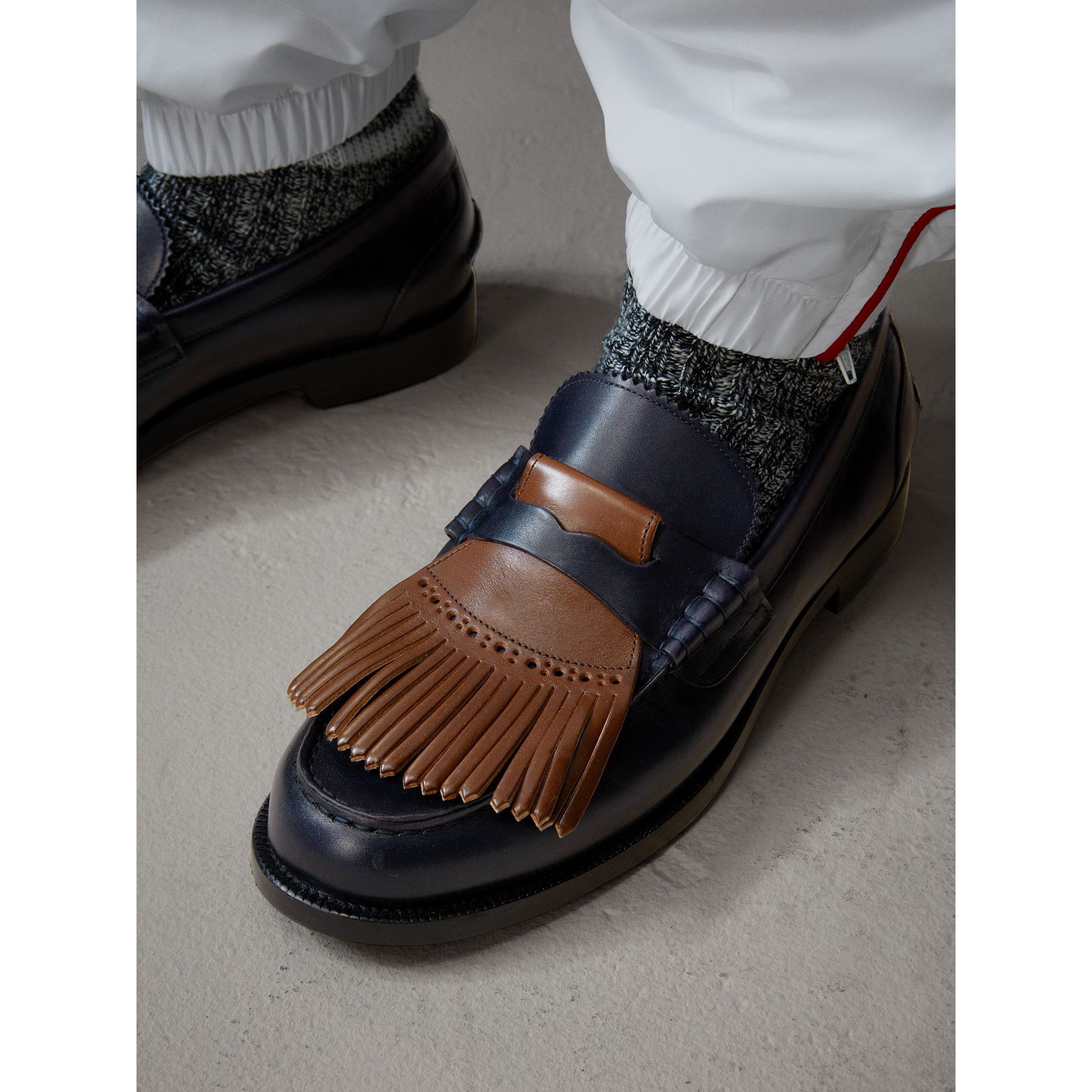 Contrast Kiltie Fringe Leather Loafers in Navy/dark Tan - Men | Burberry United Kingdom - gallery image 3