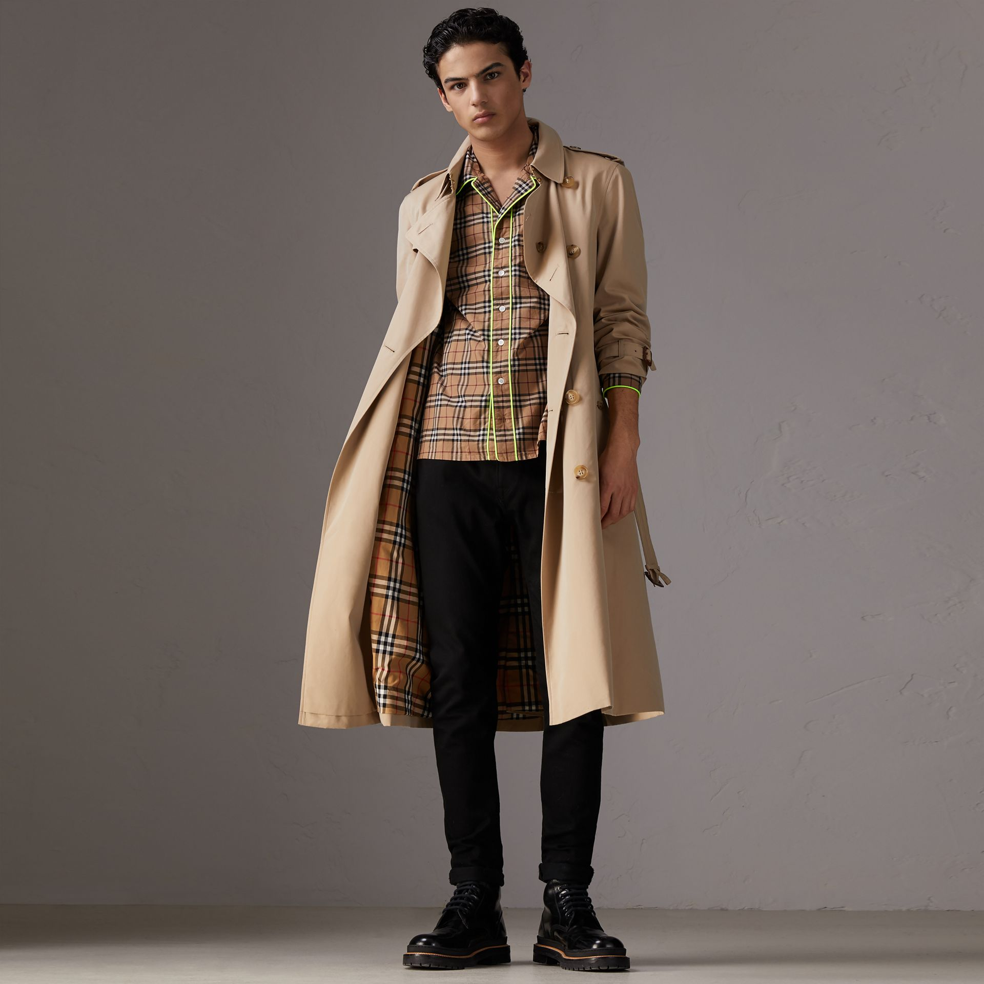 Contrast Piping Check Cotton Pyjama-style Shirt in Camel - Men | Burberry United States - gallery image 0