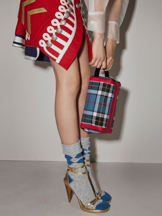 Tartan Cotton Pouch in Blue | Burberry United Kingdom - cell image 2