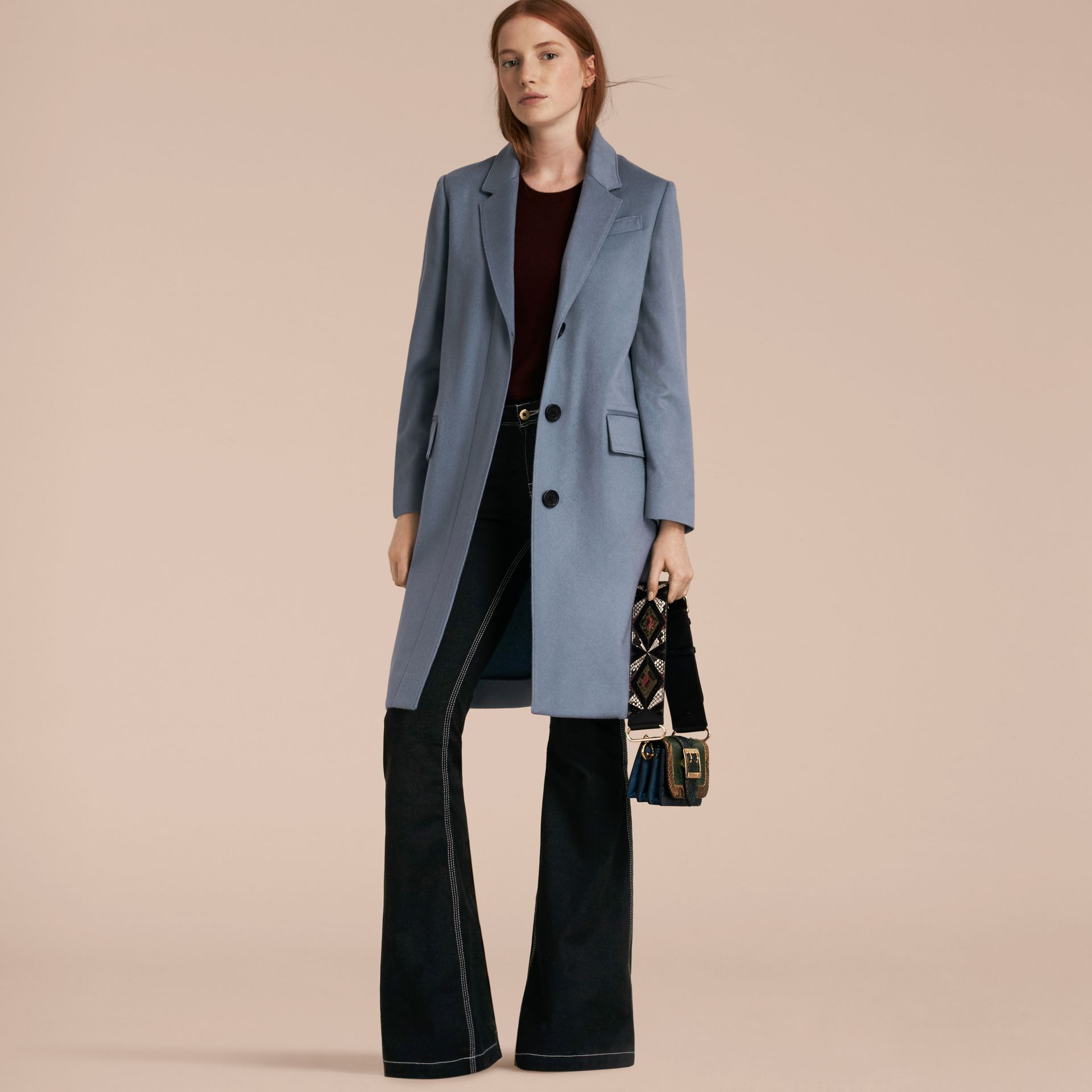 Pale blue Cashmere Tailored Coat Pale Blue - gallery image 5