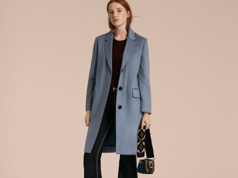 Pale blue Cashmere Tailored Coat - cell image 4