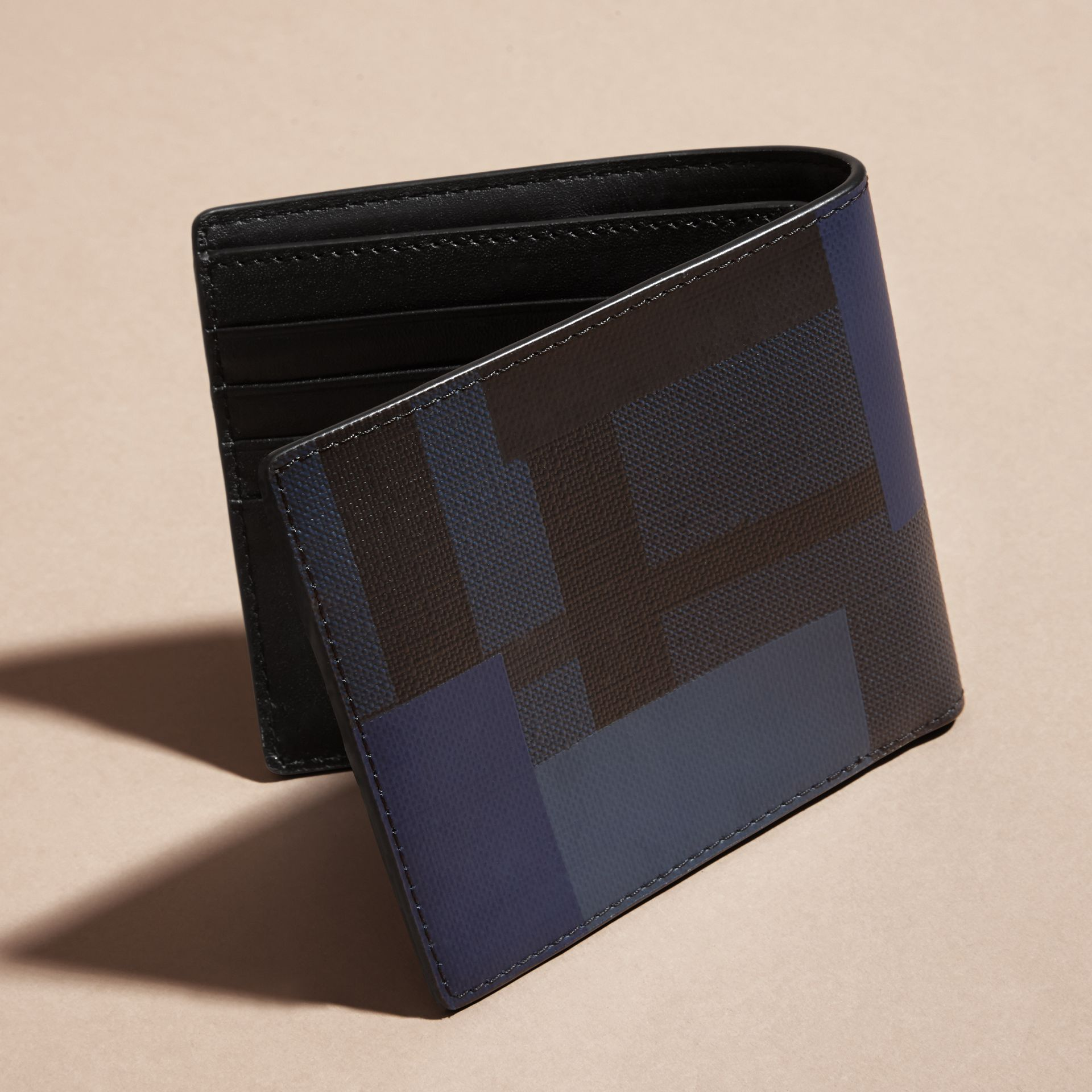 Navy/geometric Colour Block and London Check Folding Wallet - gallery image 4