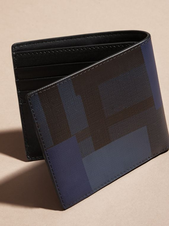 Navy/geometric Colour Block and London Check Folding Wallet - cell image 3