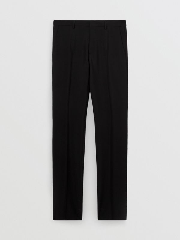 Wool Mohair Tailored Trousers in Black - Men | Burberry - cell image 3
