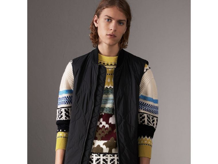 Wool Cashmere Blend Car Coat with Detachable Gilet in Dark Grey Melange - Men | Burberry Australia - cell image 1