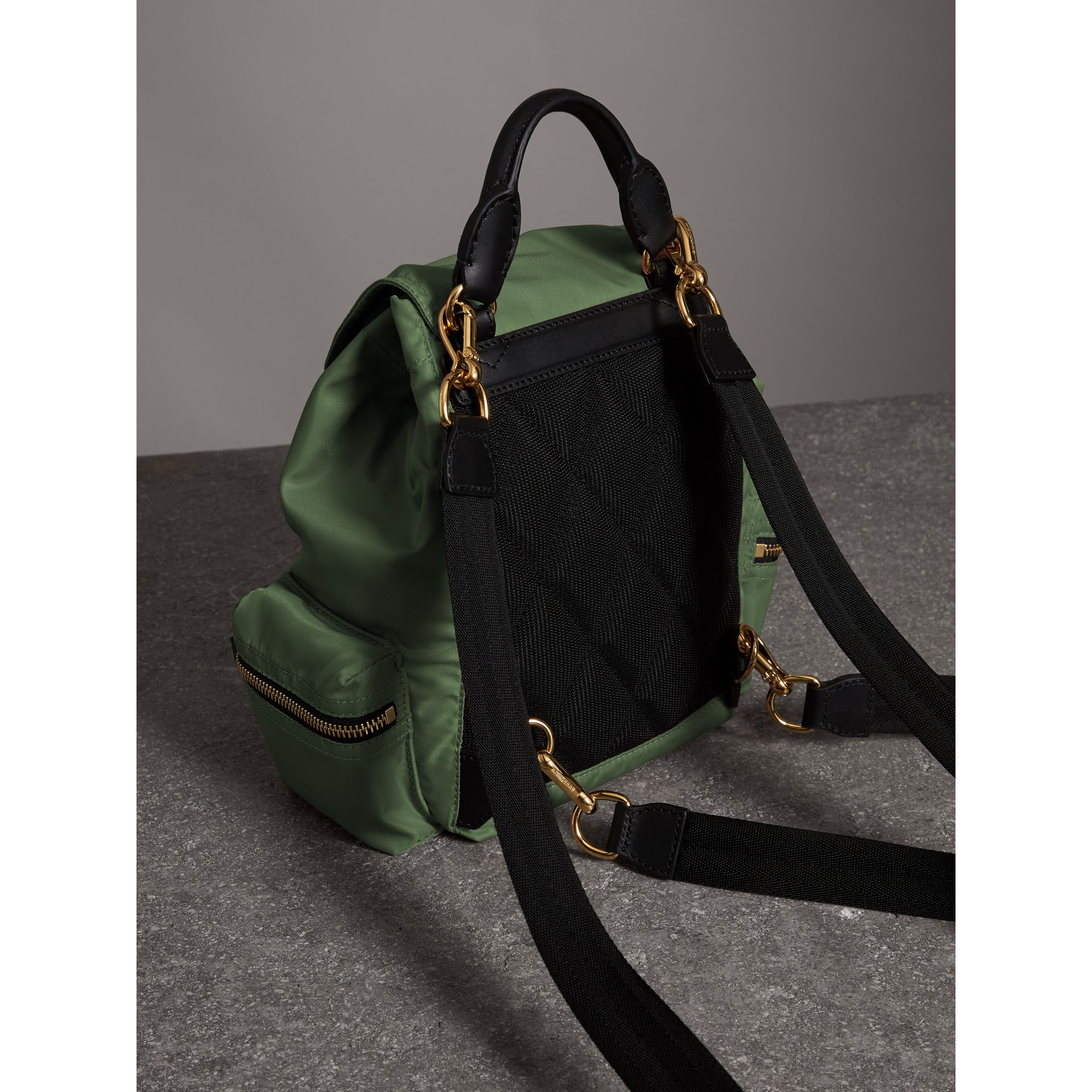 The Small Crossbody Rucksack in Nylon in Racing Green - Women | Burberry - gallery image 4