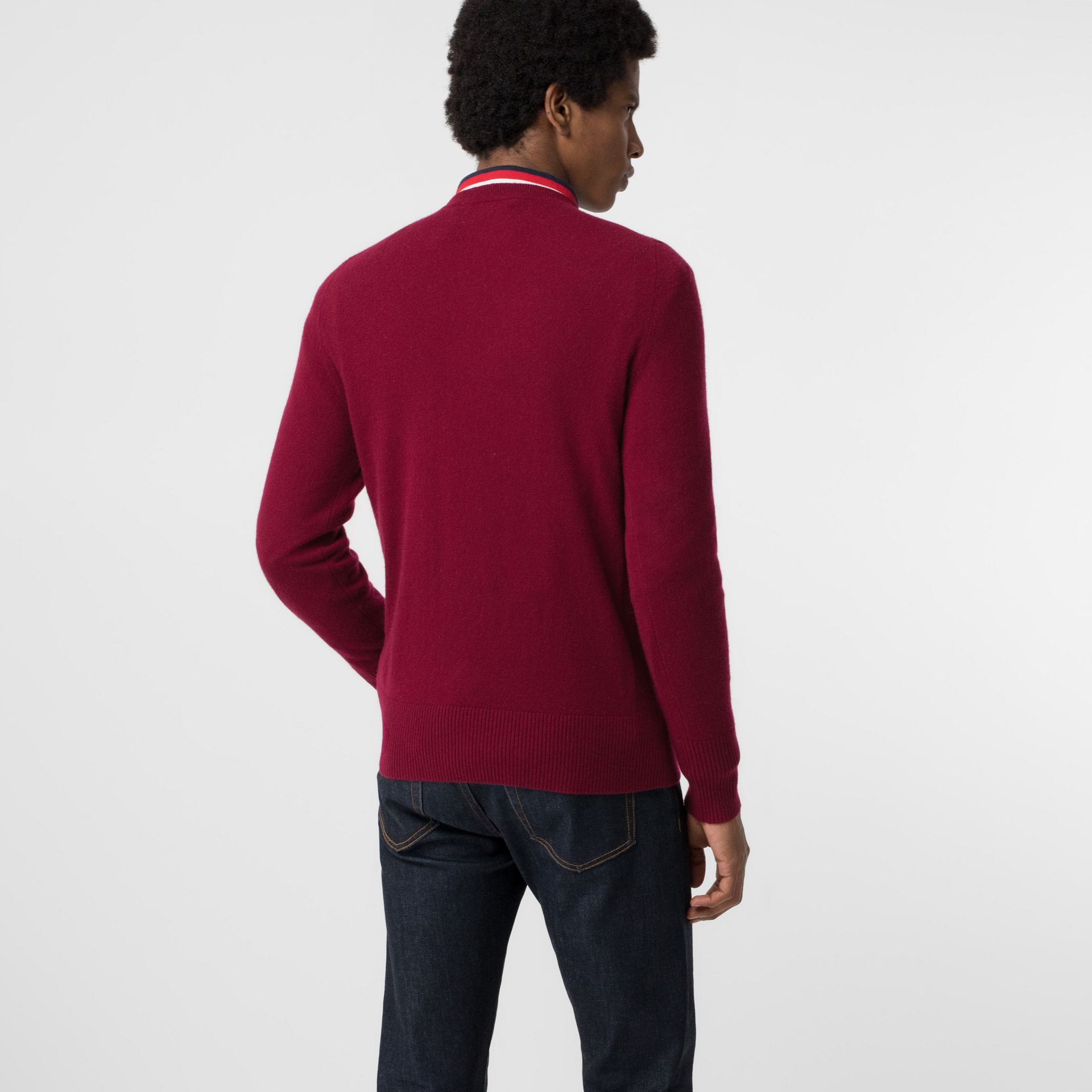 Embroidered Logo Cashmere Sweater in Claret - Men | Burberry Singapore - gallery image 2