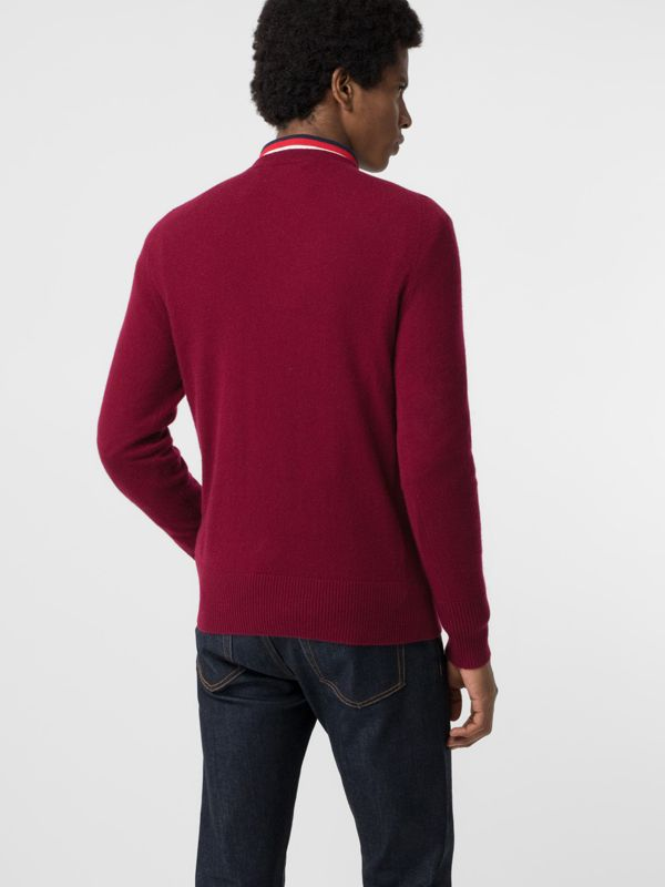 Embroidered Logo Cashmere Sweater in Claret - Men | Burberry Singapore - cell image 2