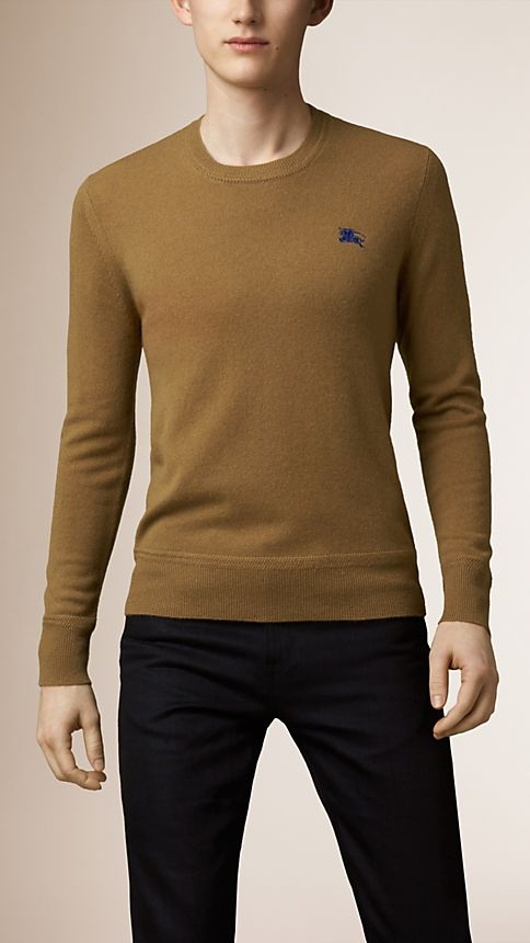 Mid camel Heritage Detail Cashmere Sweater - Image 1