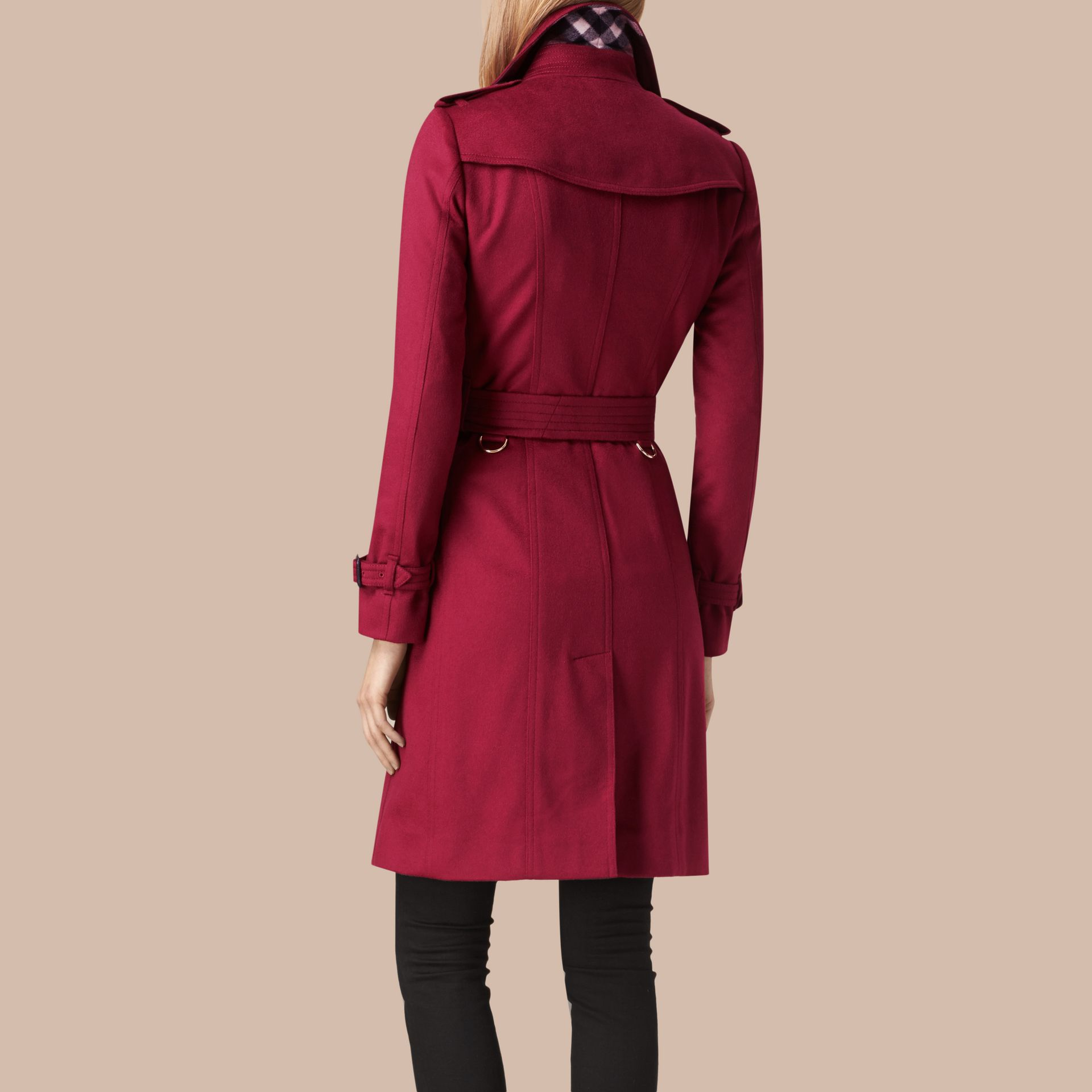 Cherry pink Sandringham Fit Cashmere Trench Coat Cherry Pink - gallery image 3