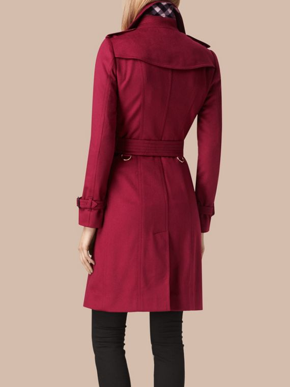 Sandringham Fit Cashmere Trench Coat in Cherry Pink - cell image 2