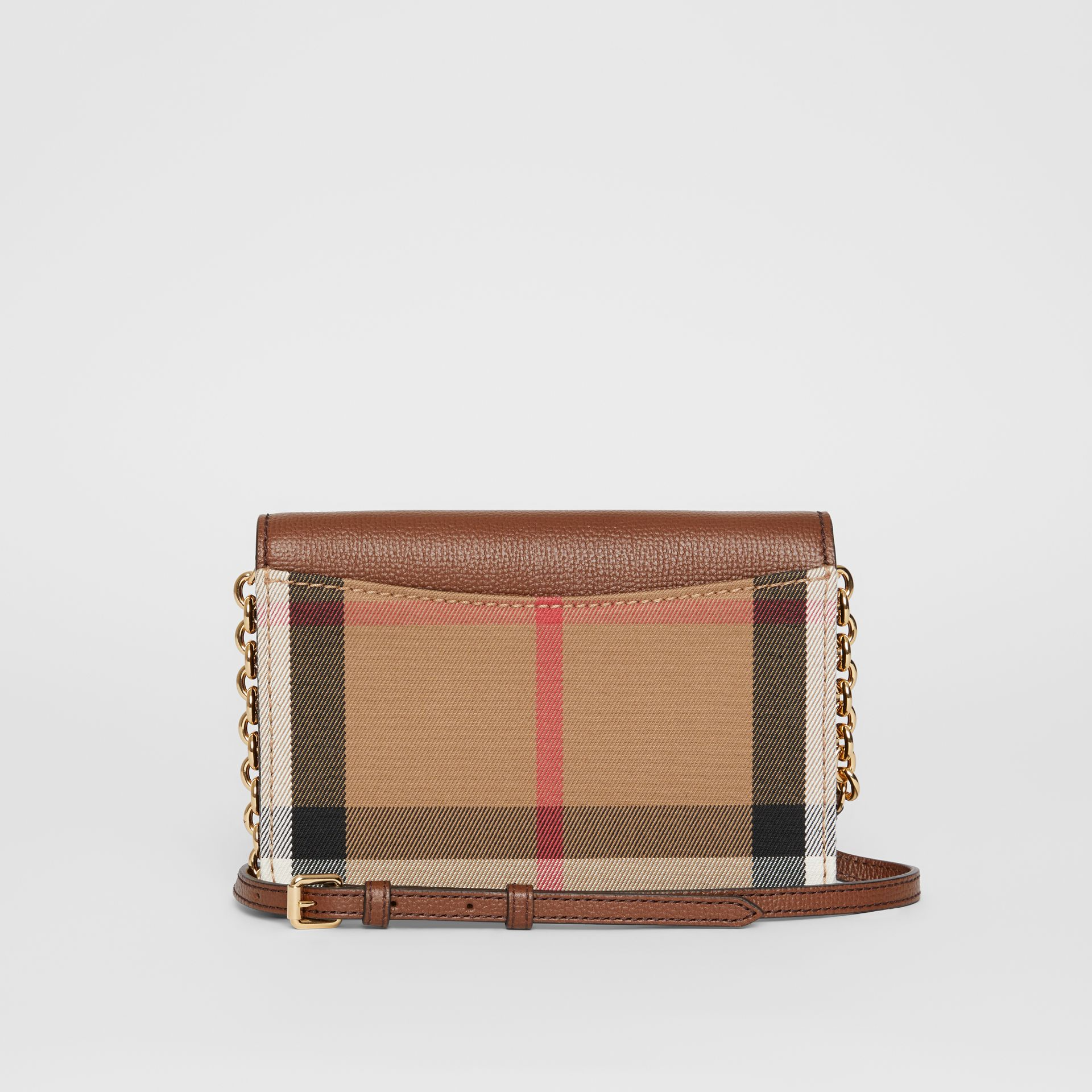 Leather and House Check Wallet with Detachable Strap in Tan - Women | Burberry - gallery image 7