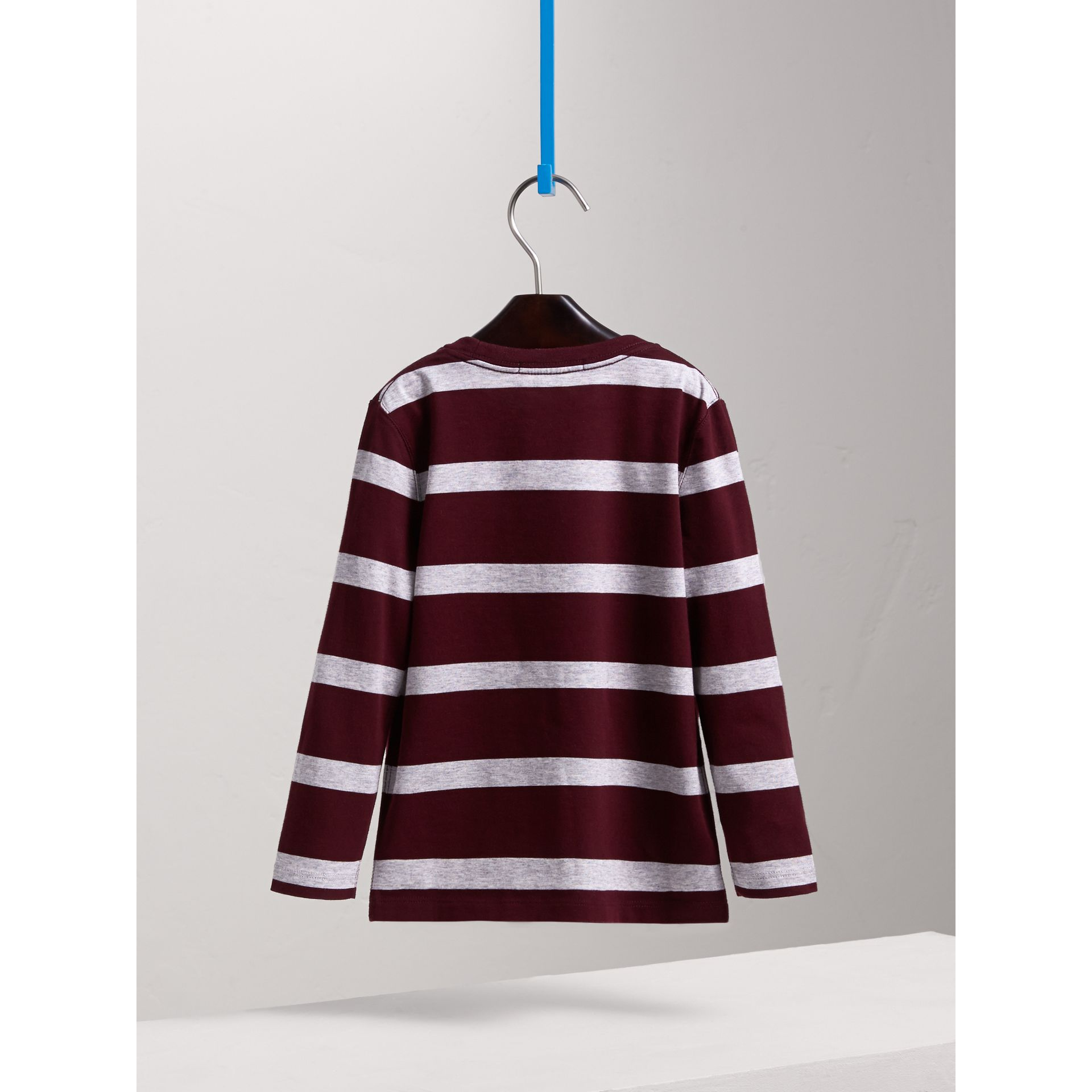 Long-sleeve Striped Cotton T-shirt in Burgundy/grey Melange - Boy | Burberry Canada - gallery image 4