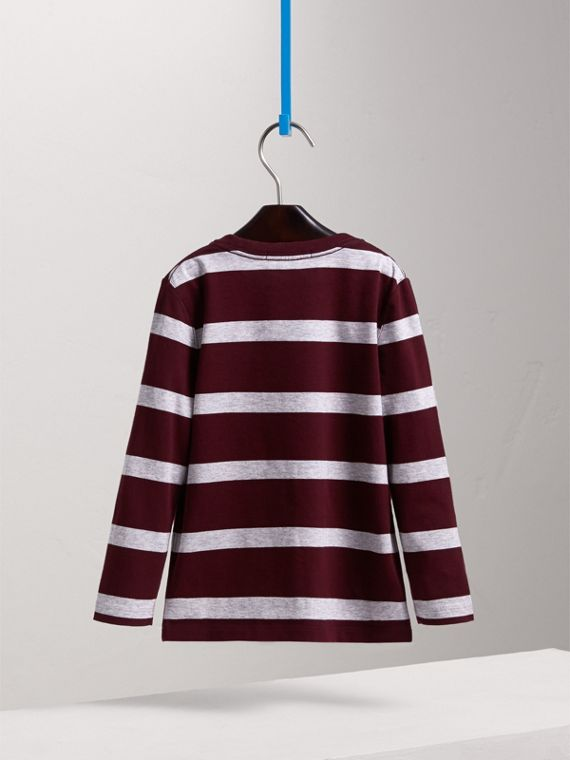 Long-sleeve Striped Cotton T-shirt in Burgundy/grey Melange - Boy | Burberry - cell image 3
