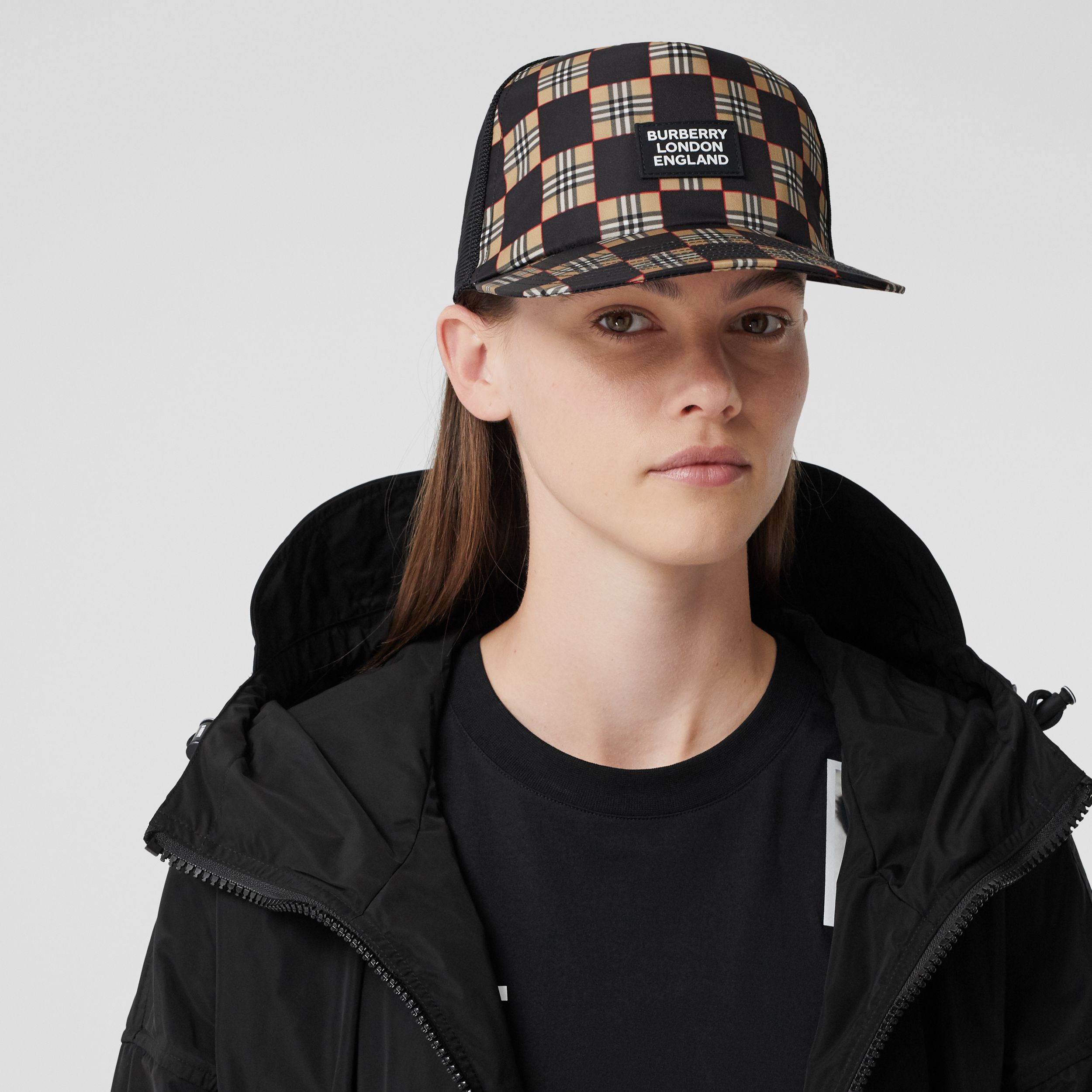Chequer ECONYL® and Mesh Baseball Cap in Black/archive Beige | Burberry - 3