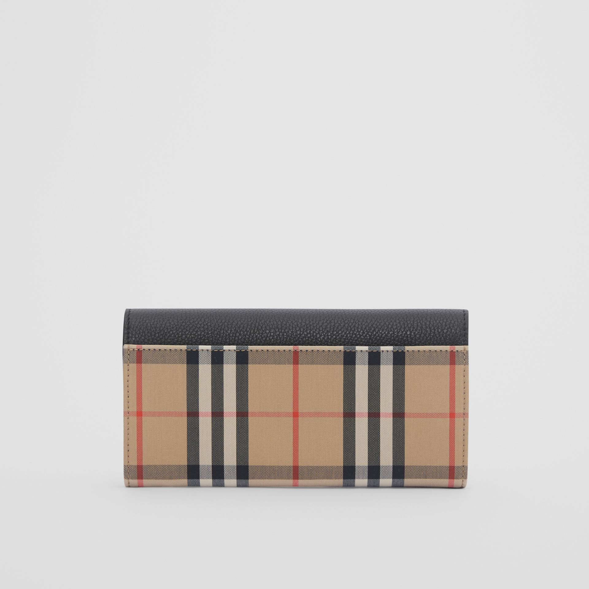 Vintage Check and Leather Continental Wallet in Black - Women | Burberry - gallery image 4