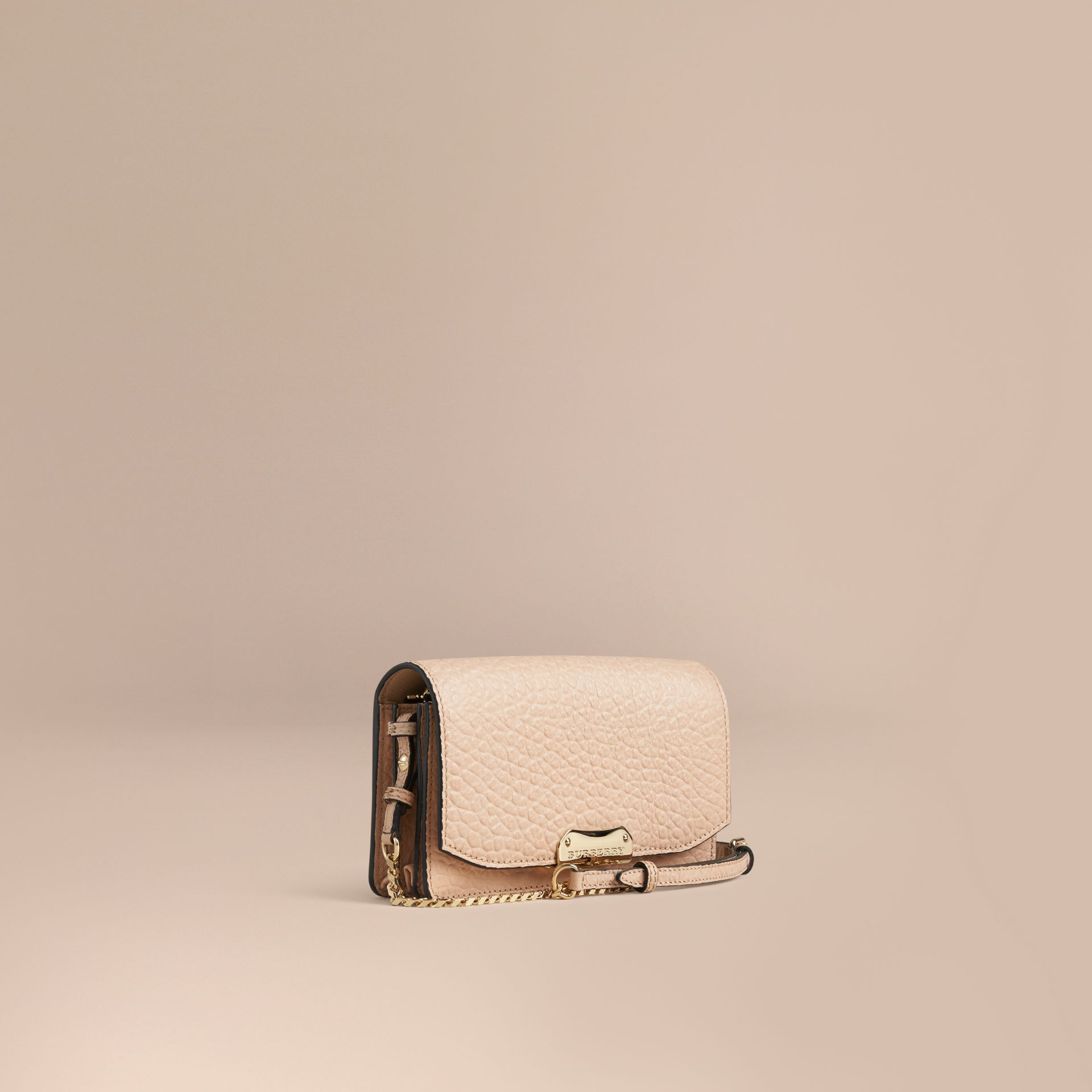 Pale apricot Signature Grain Leather Clutch Bag with Chain - gallery image 1