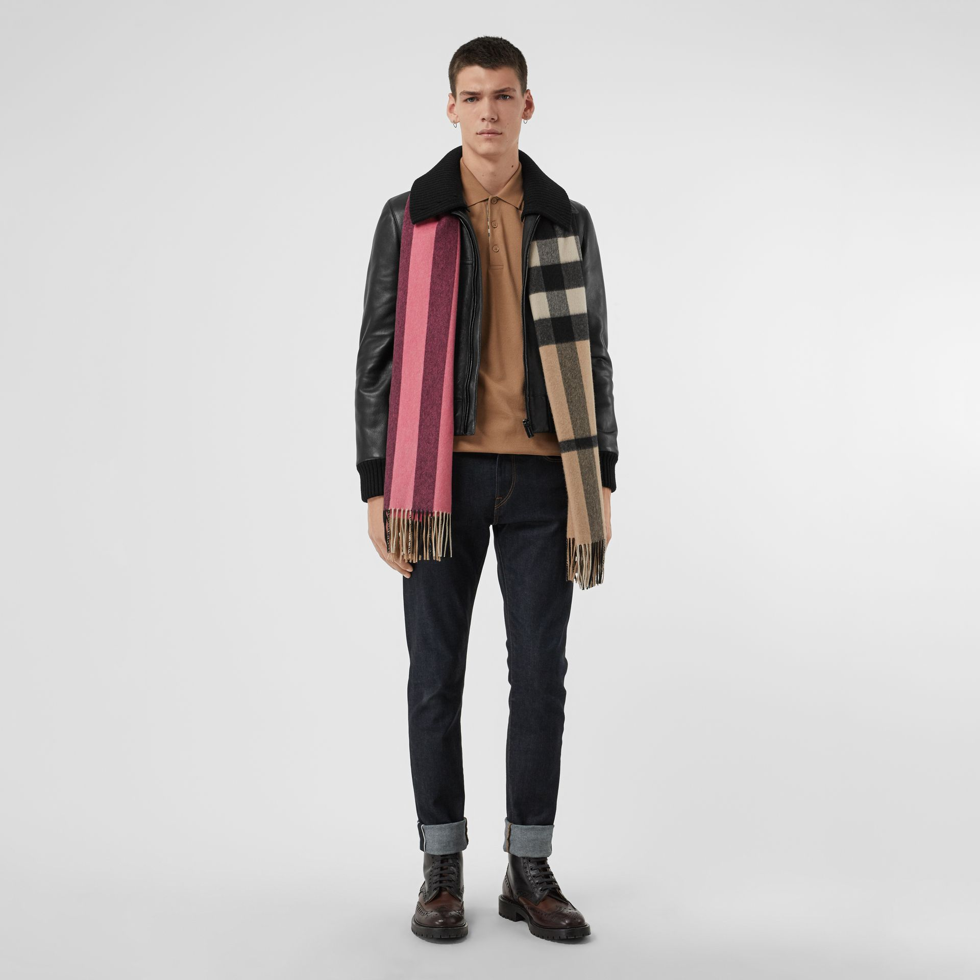 Colour Block Check Cashmere Scarf in Rose Pink | Burberry Canada - gallery image 3