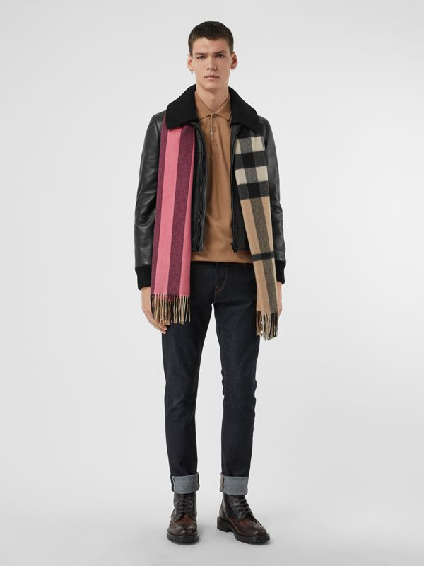 Colour Block Check Cashmere Scarf in Rose Pink | Burberry - cell image 3