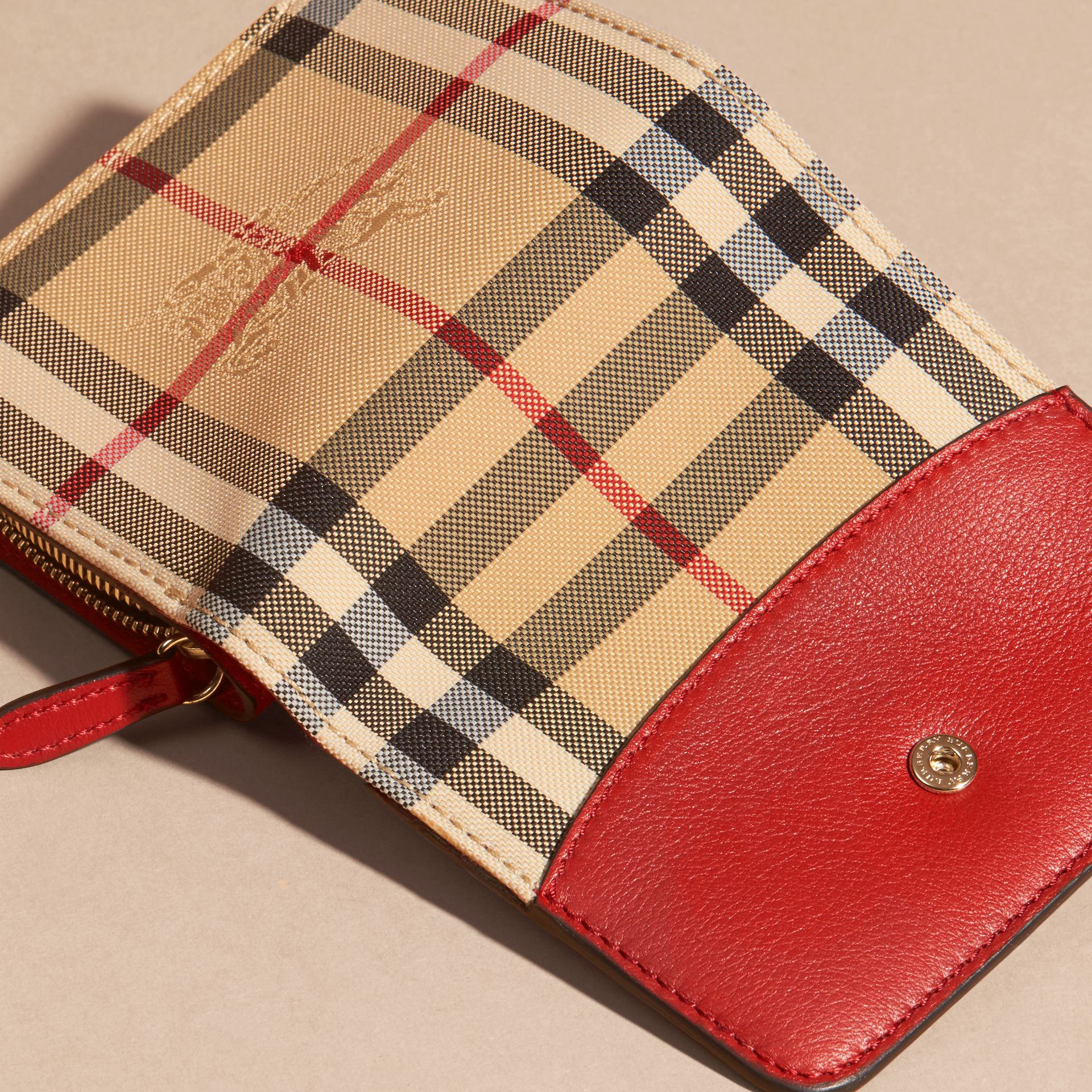 Horseferry Check and Leather Wallet Parade Red - gallery image 2