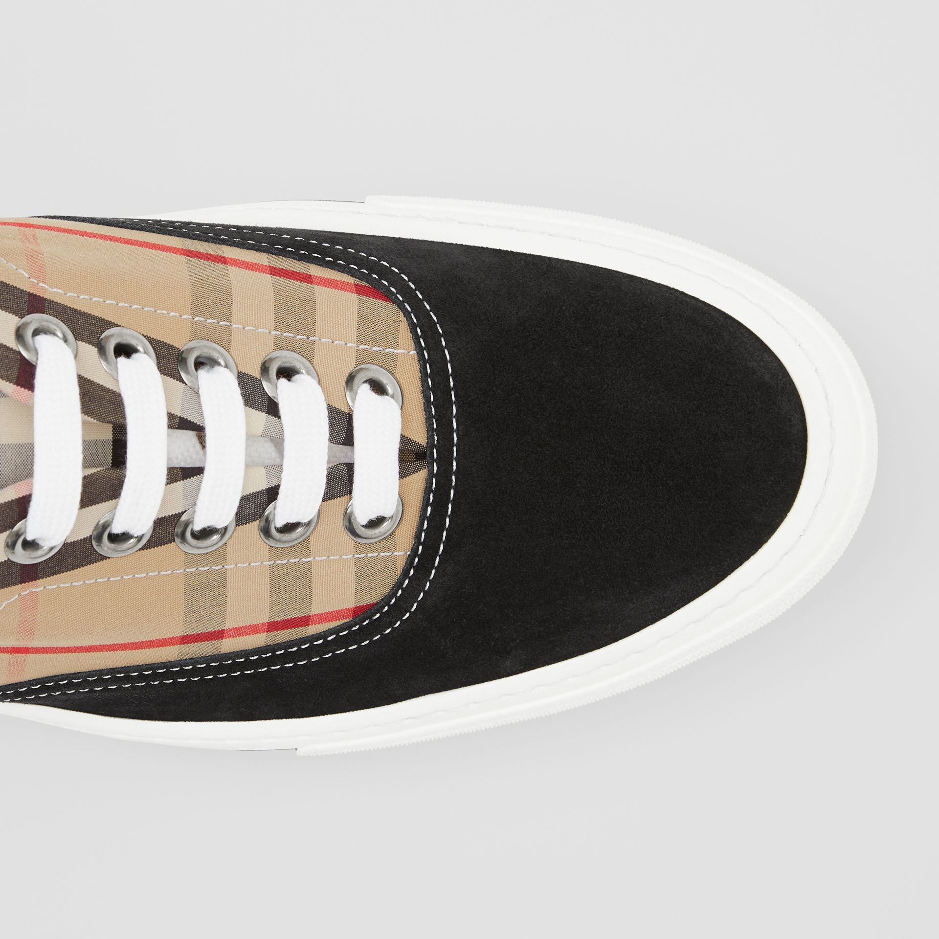 Vintage Check Cotton and Suede Sneakers in Black/archive Beige - Men | Burberry United States - gallery image 1