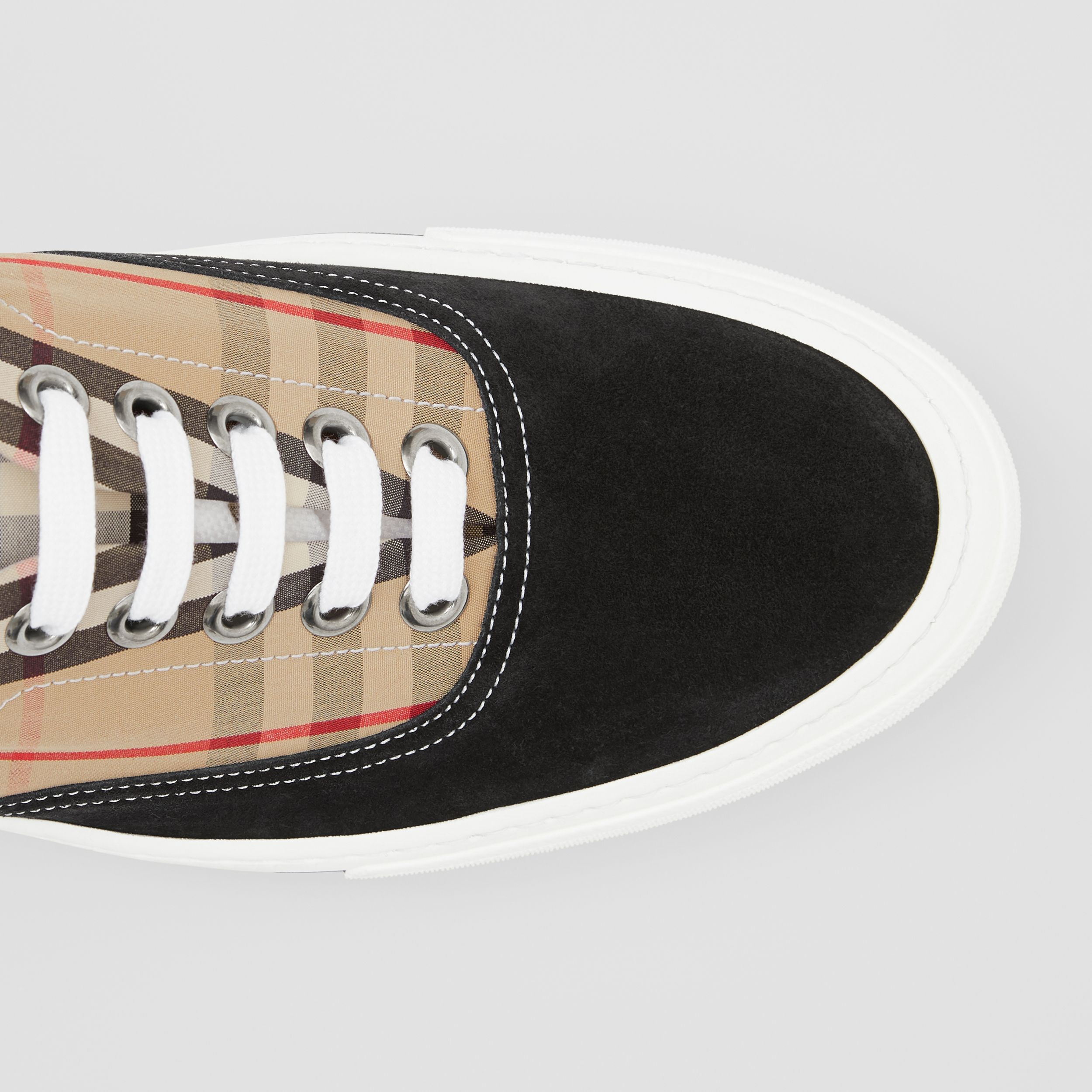 Vintage Check Cotton and Suede Sneakers in Black/archive Beige - Men | Burberry Hong Kong S.A.R. - 2