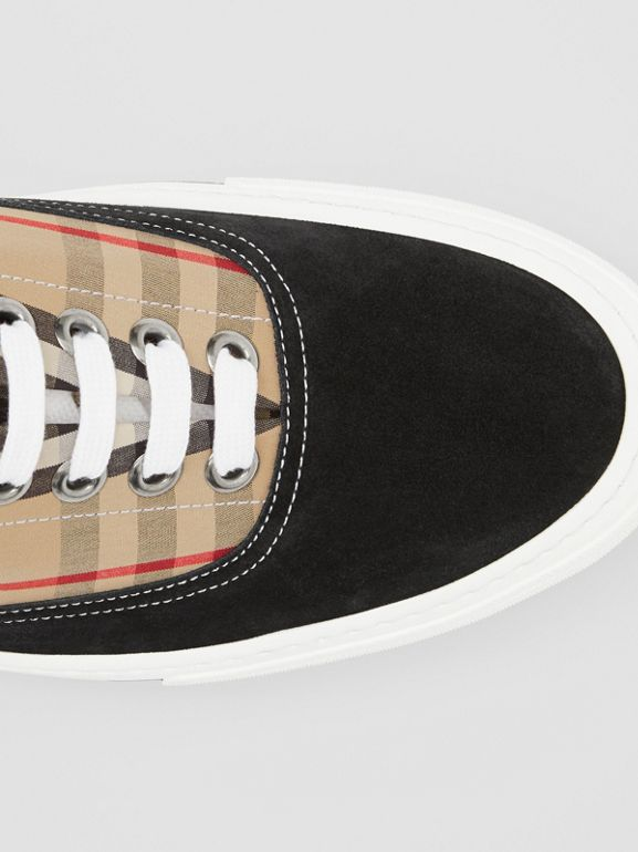 Vintage Check Cotton and Suede Sneakers in Black/archive Beige - Men | Burberry United States - cell image 1