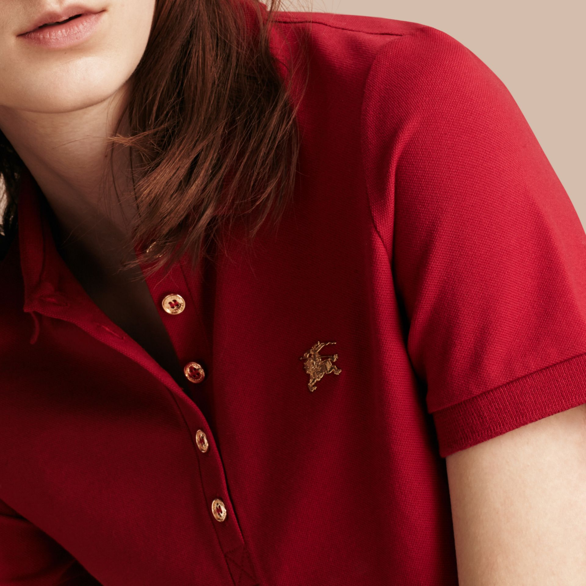 Military red Stretch Cotton Piqué Polo Shirt Military Red - gallery image 5
