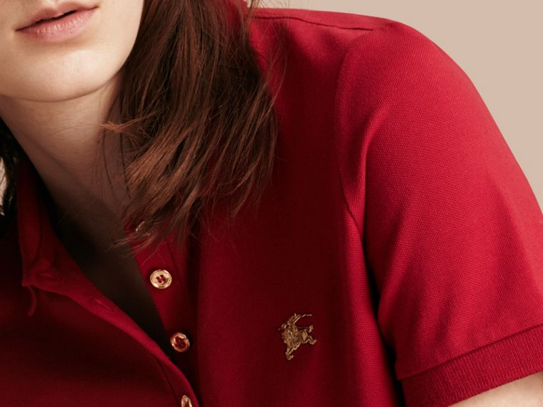 Military red Stretch Cotton Piqué Polo Shirt Military Red - cell image 4